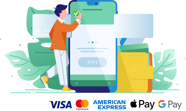 Legl payment methods include Visa, Mastercard, Amex, Apple pay and Gpay